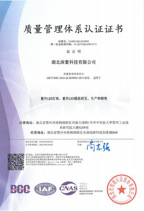 ISO9001:2015质量管理体系认证